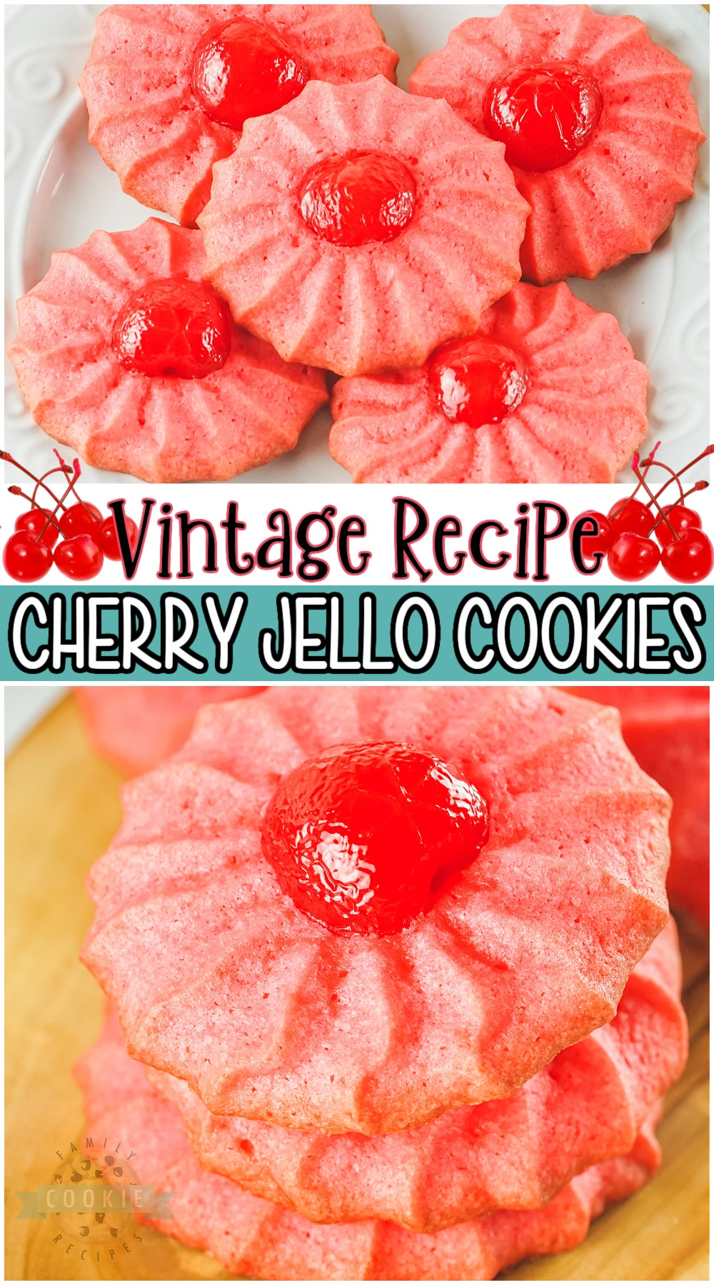 Vintage Cherry Jello cookies are a buttery, delicious cookie with lovely cherry flavor! Classic jello cookie recipe with maraschino cherries perfect for the holidays, or any occasion! #cookies #cherry #jello #vintage #baking #holidays #easyrecipe from FAMILY COOKIE RECIPES via @buttergirls