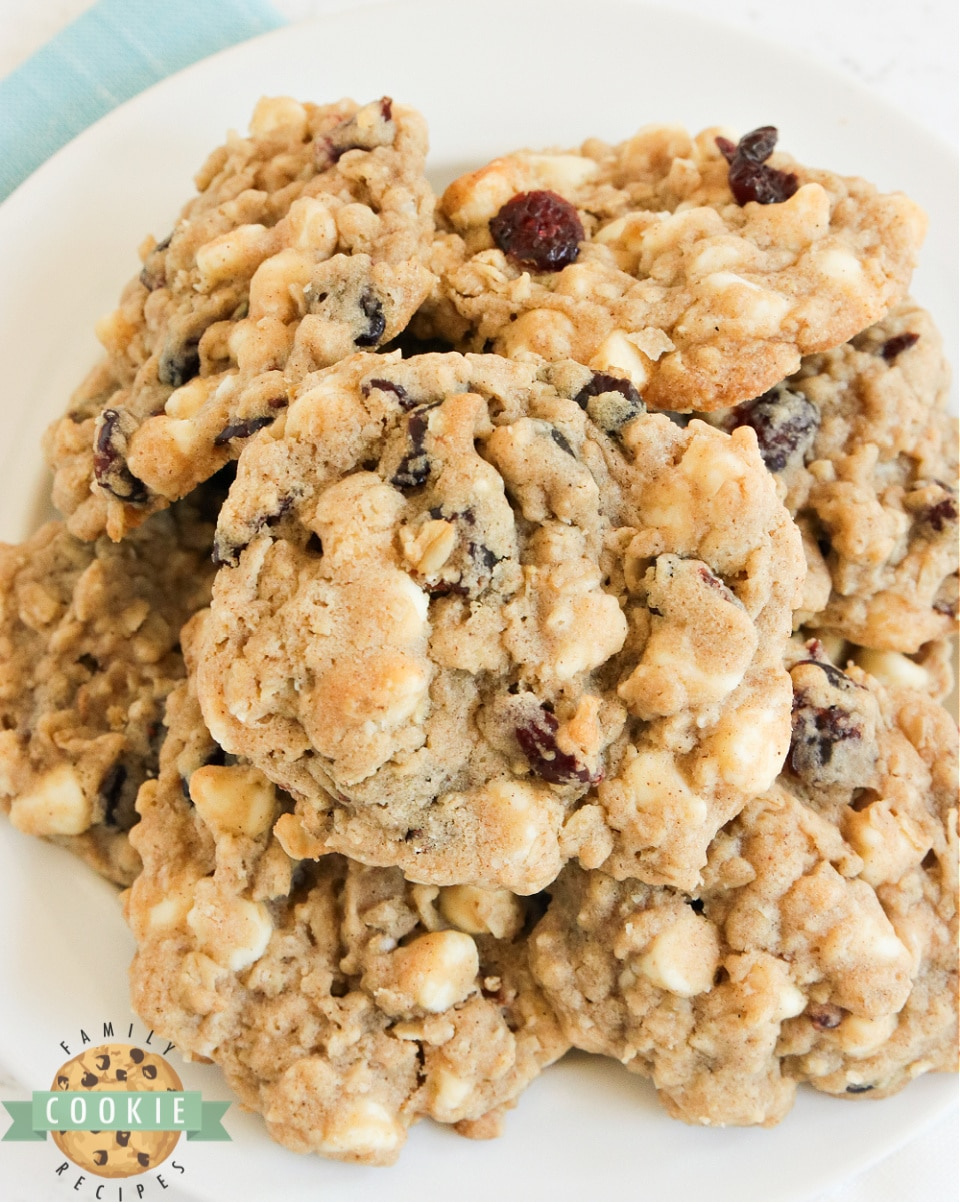 White Chocolate Cranberry Oatmeal Cookies are a classic favorite - soft, chewy oatmeal cookies packed with dried cranberries and white chocolate chips.