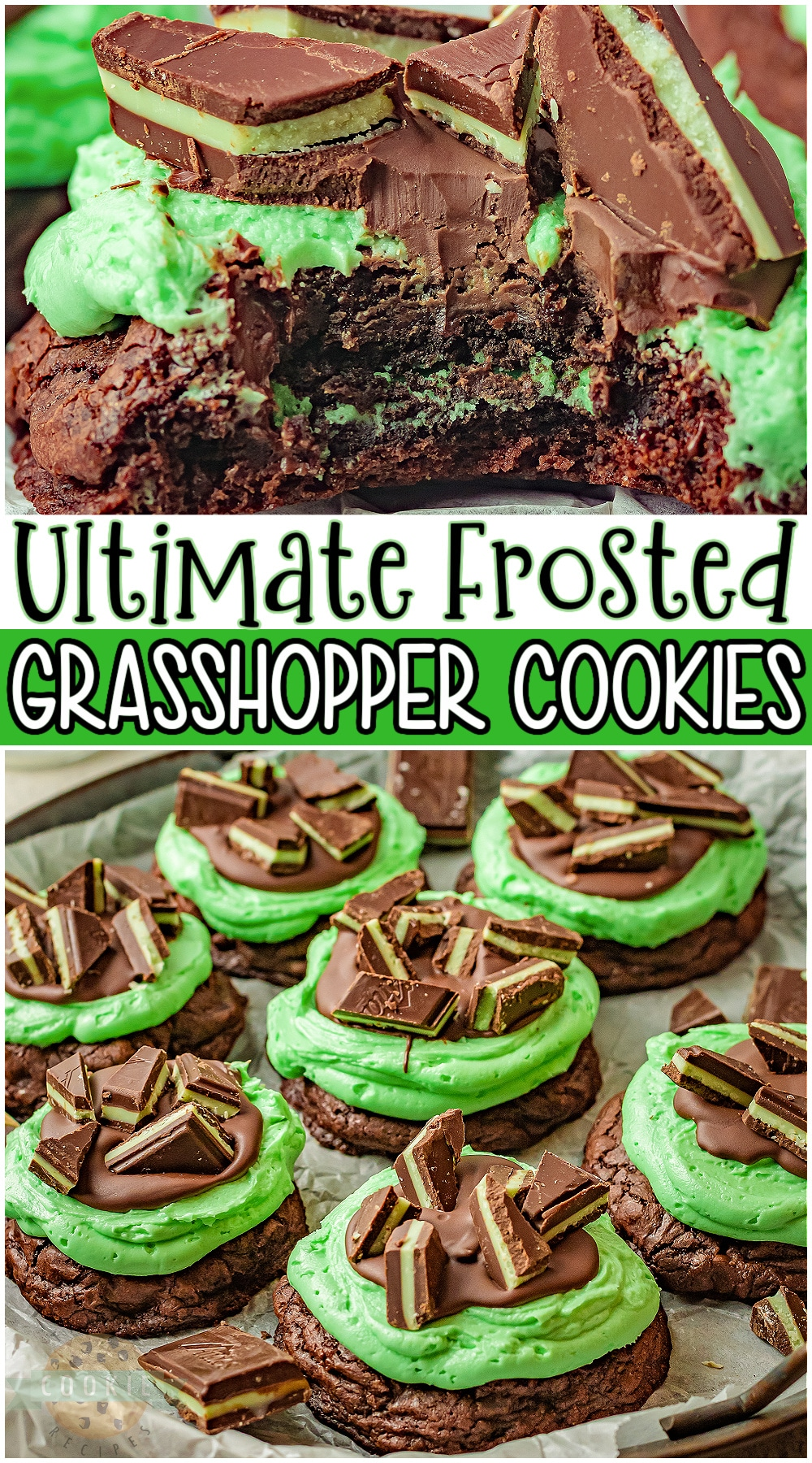 Grasshopper cookies are fudgy brownie cookies stuffed with a Mint Oreo and topped with the ultimate mint chocolate frosting! Indulgent mint chocolate cookies perfect for the holidays. #mint #cookies #chocolate #grasshopper #baking #easyrecipe from FAMILY COOKIE RECIPES via @buttergirls