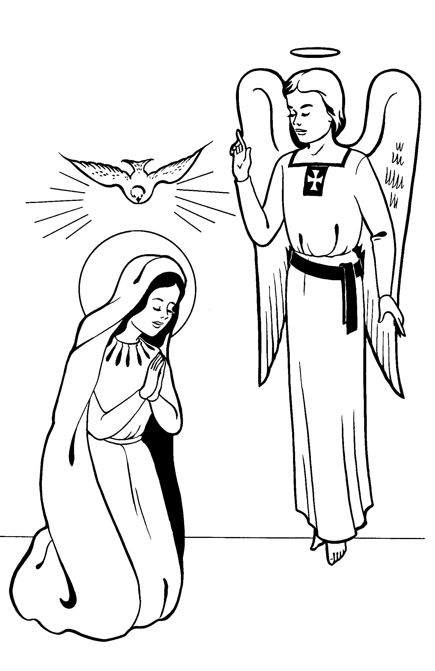 From The Hail Mary By Society Of Saint Paul 1952 Annunciationcoloringpage