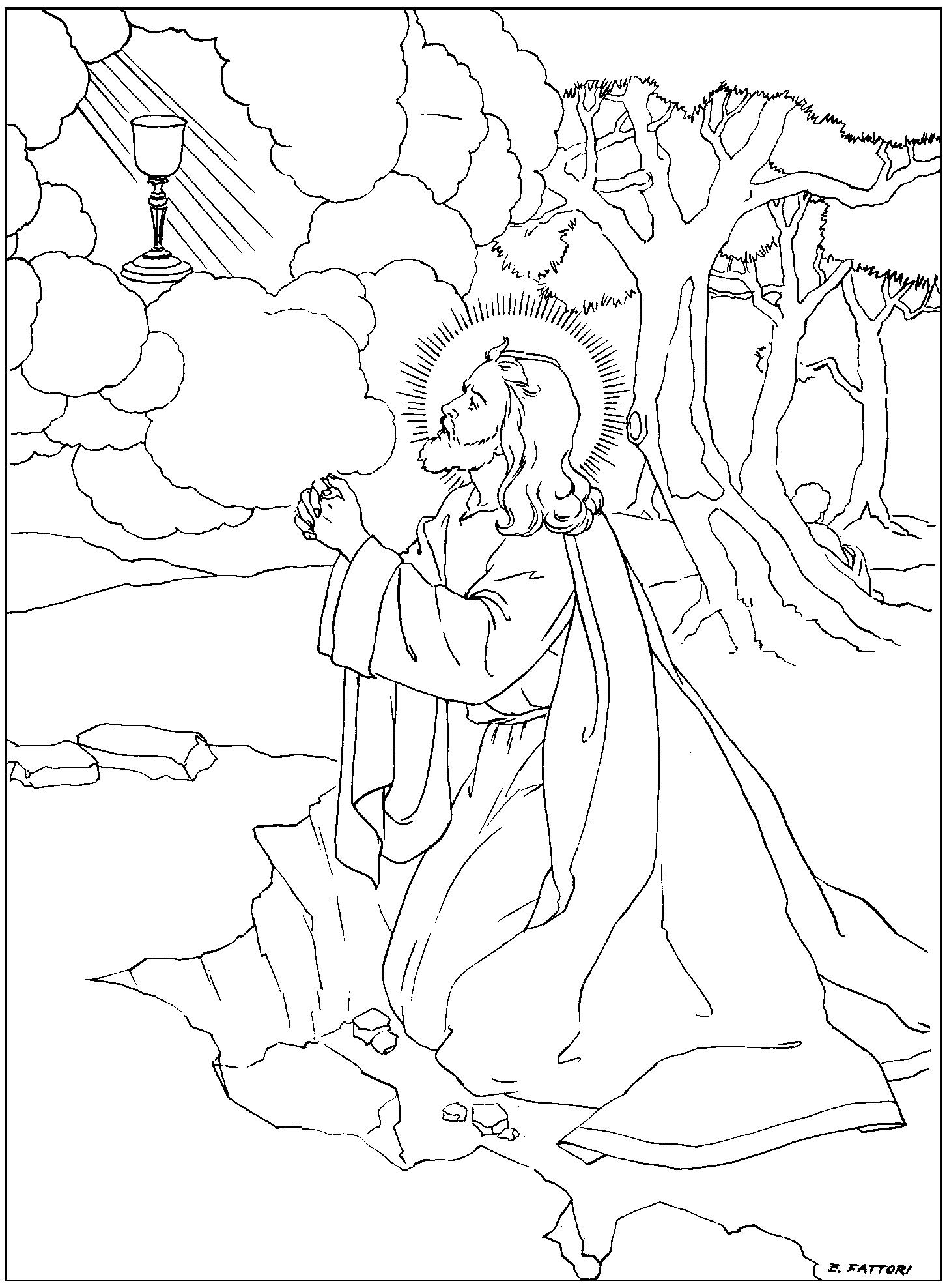 Rosary Coloring Pages Family in Feast and Feria