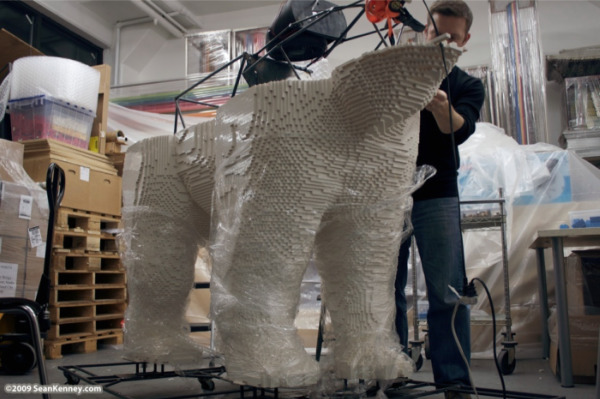 Lego sculpture polar bear