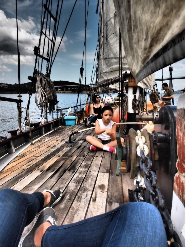 Sailing Tall ship Derwent River Hobart Tasmania