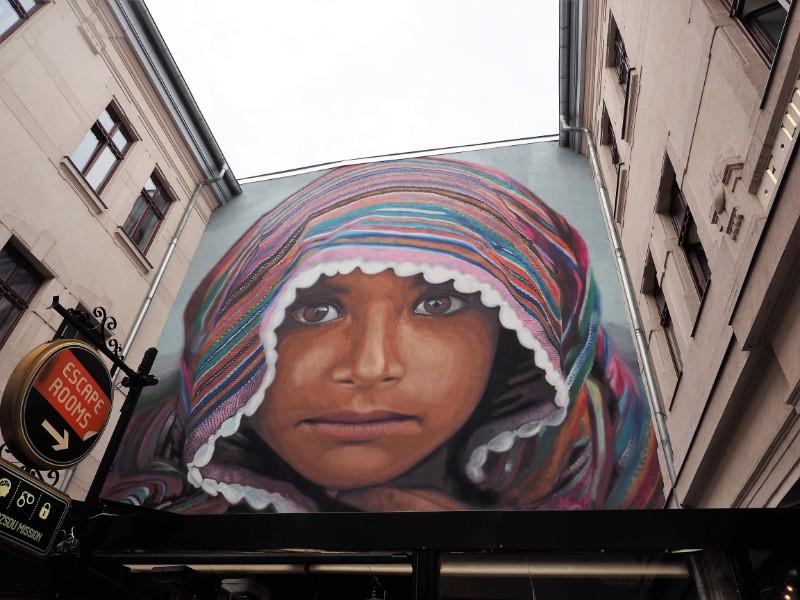 Refugee Street art mural Budapest