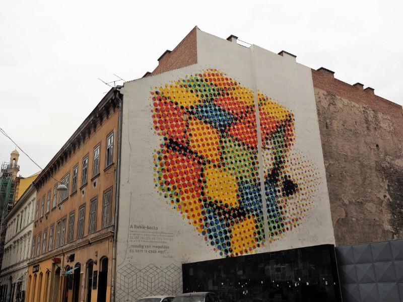 Rubik's Cube Street Art in Budapest