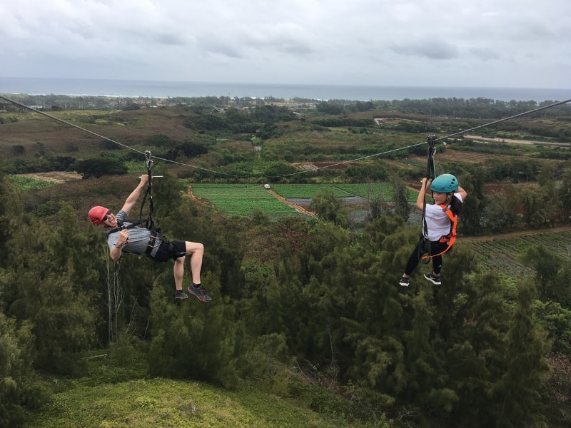Zip Lining in Oahu, U.S.A by 10-Year-Old