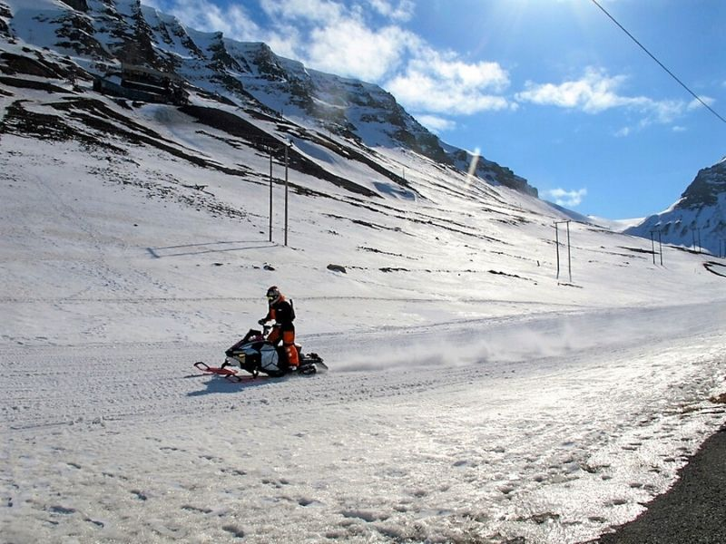 Snowmobiling in Svalbard Norway