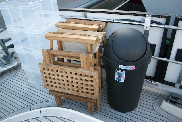 A foldable table ... and a garbage bin that doesn't even fit inside the boat