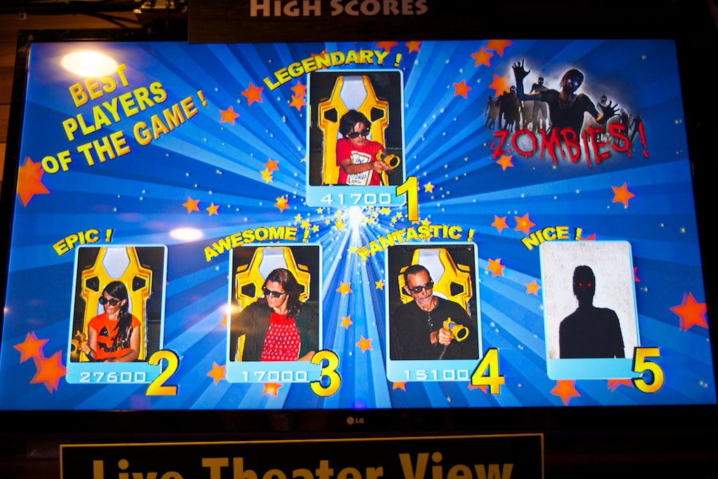 "From there, we all went to shoot some zombies at the ""7D Experience"". Essentially a 3D cinema with laser guns. I challenged paulo that I would win. Look what happened."