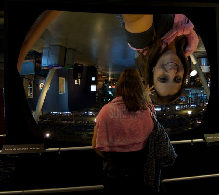 The huge convex mirror was one of the most popular attractions - we had to wait in line to play with it