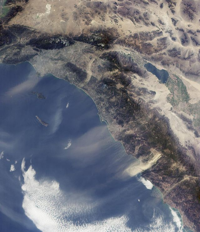 Satellite image of Santa Ana winds blowing desert dust on to the sea