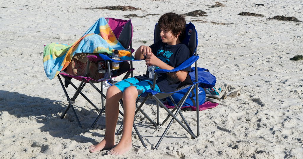 We also used for the first time the foldable beach chairs we had bought in Seattle