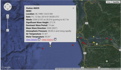 Real time readings from a NOAA buoy offshore from the Columbia River, where Astoria is: 35 to 43Kt winds and an astonishing 27 feet high waves !