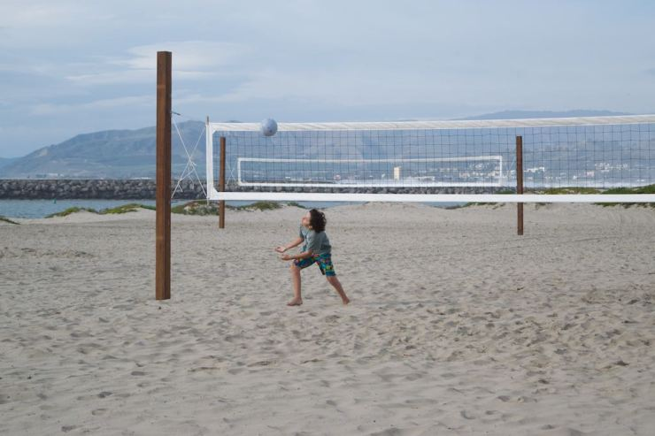 But above all, the kids enjoyed the volleyball nets on the beach.