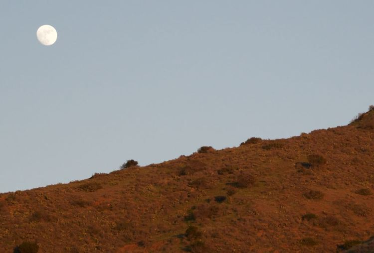 And the the Moon came from behind the red hills at sunset ...