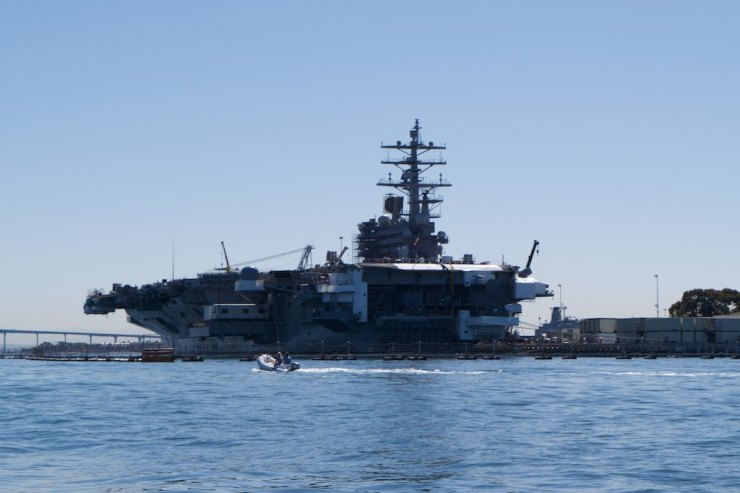 This is John C Stennis, CVN-74, a nuclear aircraft carrier launched in '93 and still operational. She is 1,092ft long and can sail in excess of 30kts, with an unlimited range, and carrying up to 90 aircraft - no small stuff.