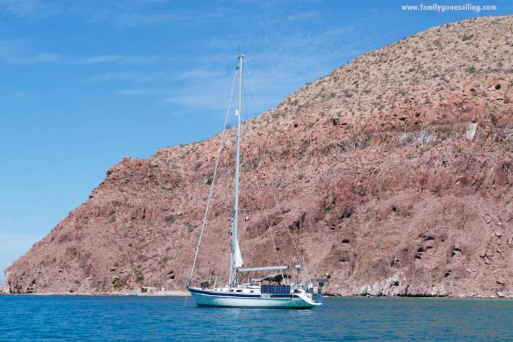 At anchor off Isla Partida's sandstone hills