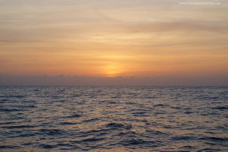 As tiresome as a midnight departure can be, the sunrise at sea is always a great reward