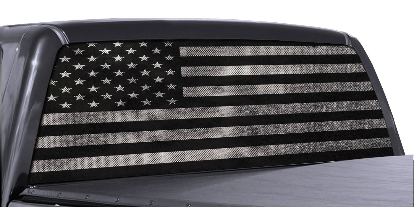 Fgd brand truck rear window wrap black white distressed american flag perforated vinyl decal