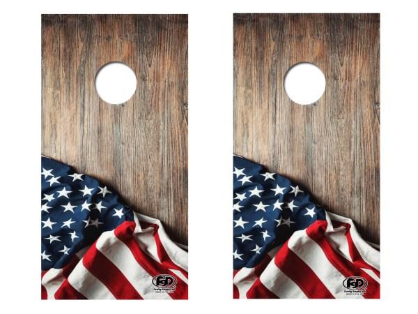 FGD Rustic Barn Wood & US Flag Cornhole Board Wrap Set