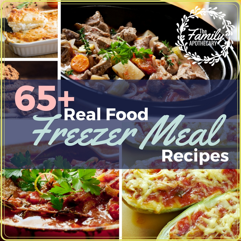 Providing your family with nutritious, satisfying meals is SO much easier when you have healthy freezer meals prepped and ready to go. Here are 65+ recipes to keep your fridge & freezer fully stocked! For more delicious recipes & resources to support healthy living visit TheFamilyApothecary.com #freezermeals #healthyfreezermeals #cleaneating
