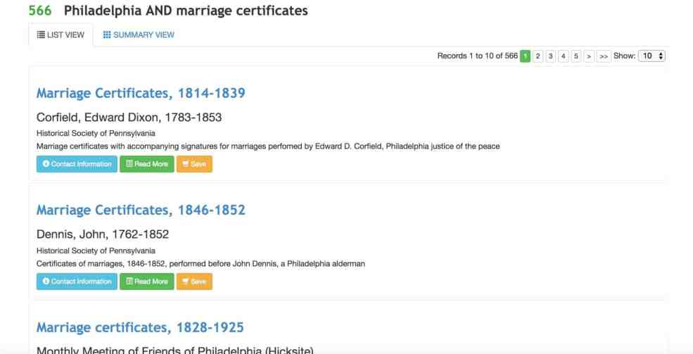 Search results for Philadelphia marriage certificates on ArchiveGrid