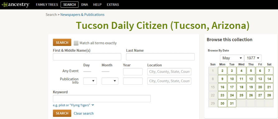 """Search screen of Ancestry.com's Newspapers & Publications collection for """"Tucson Daily Citizen"""""""