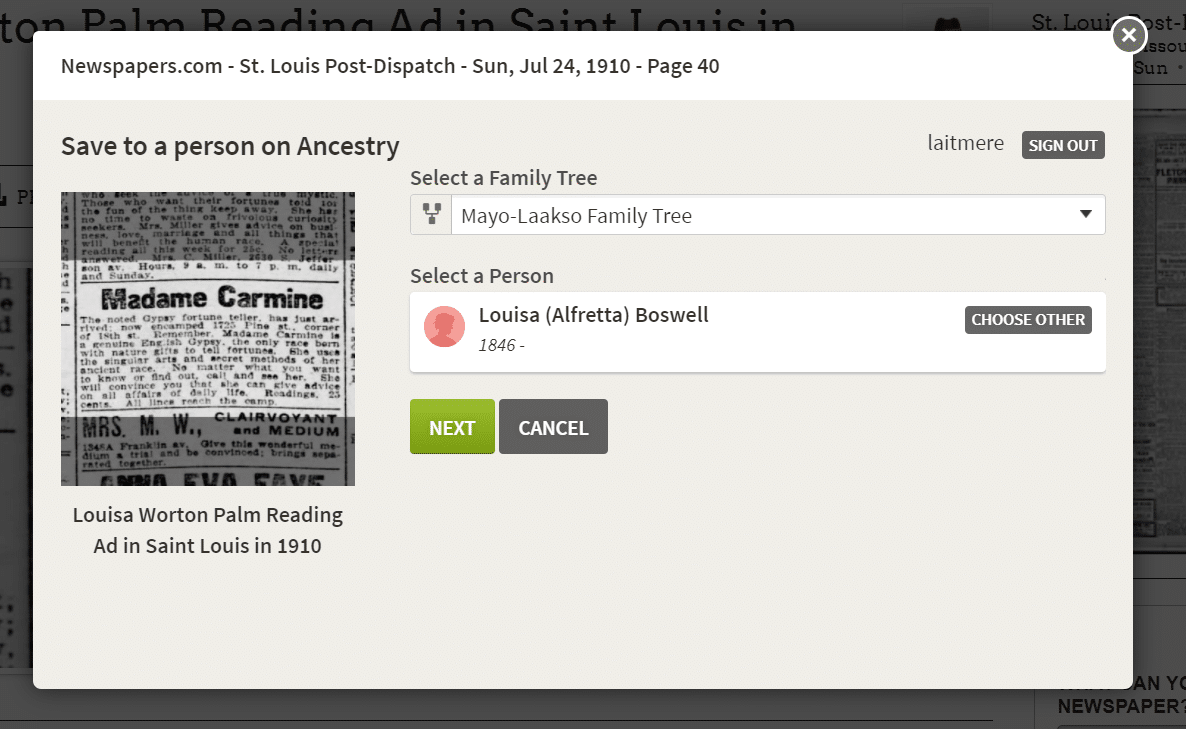 Newspapers.com Save to Ancestry Step 2