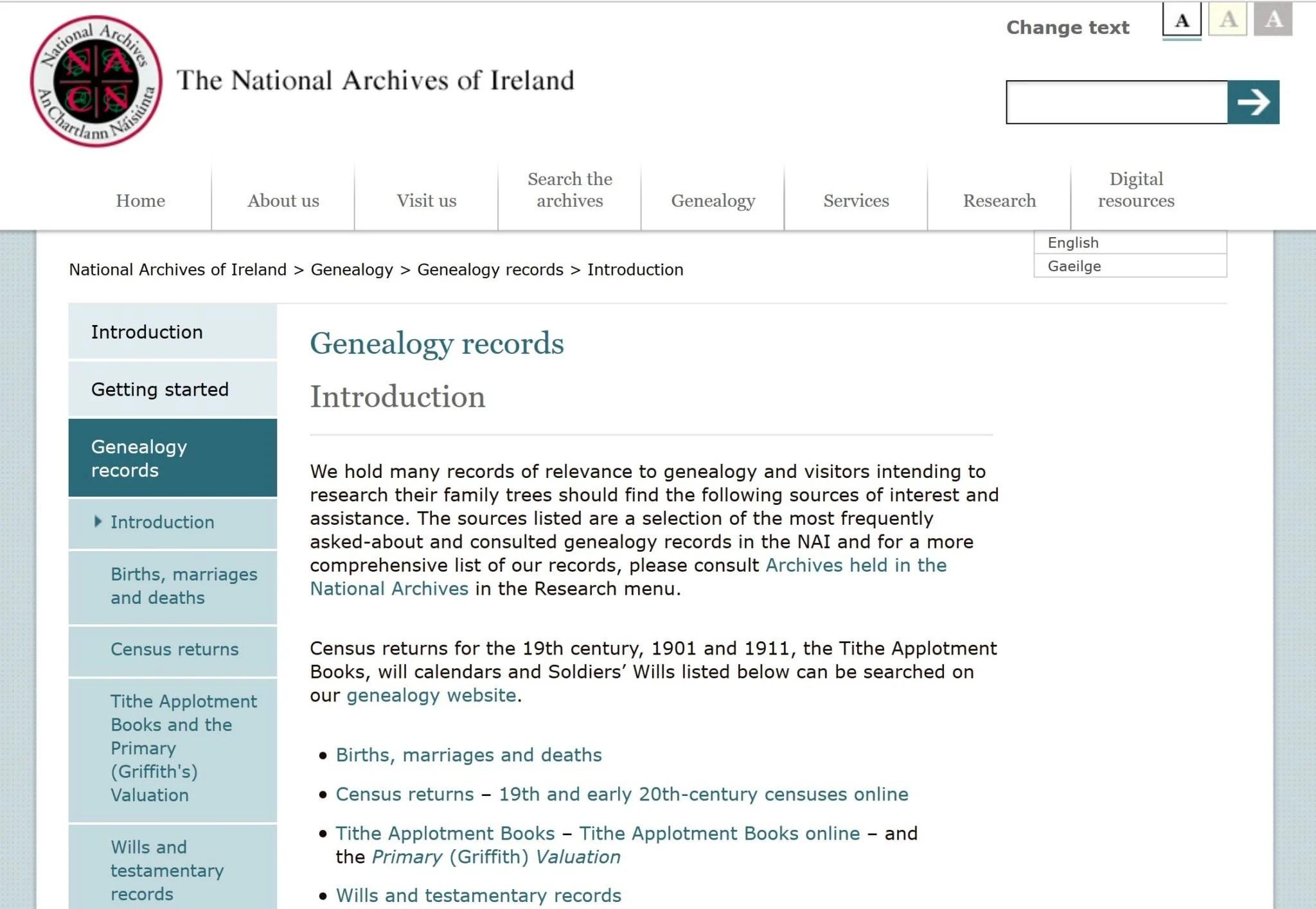 British, Irish, Scottish, Welsh Genealogy Research Guide, Ireland National Archives