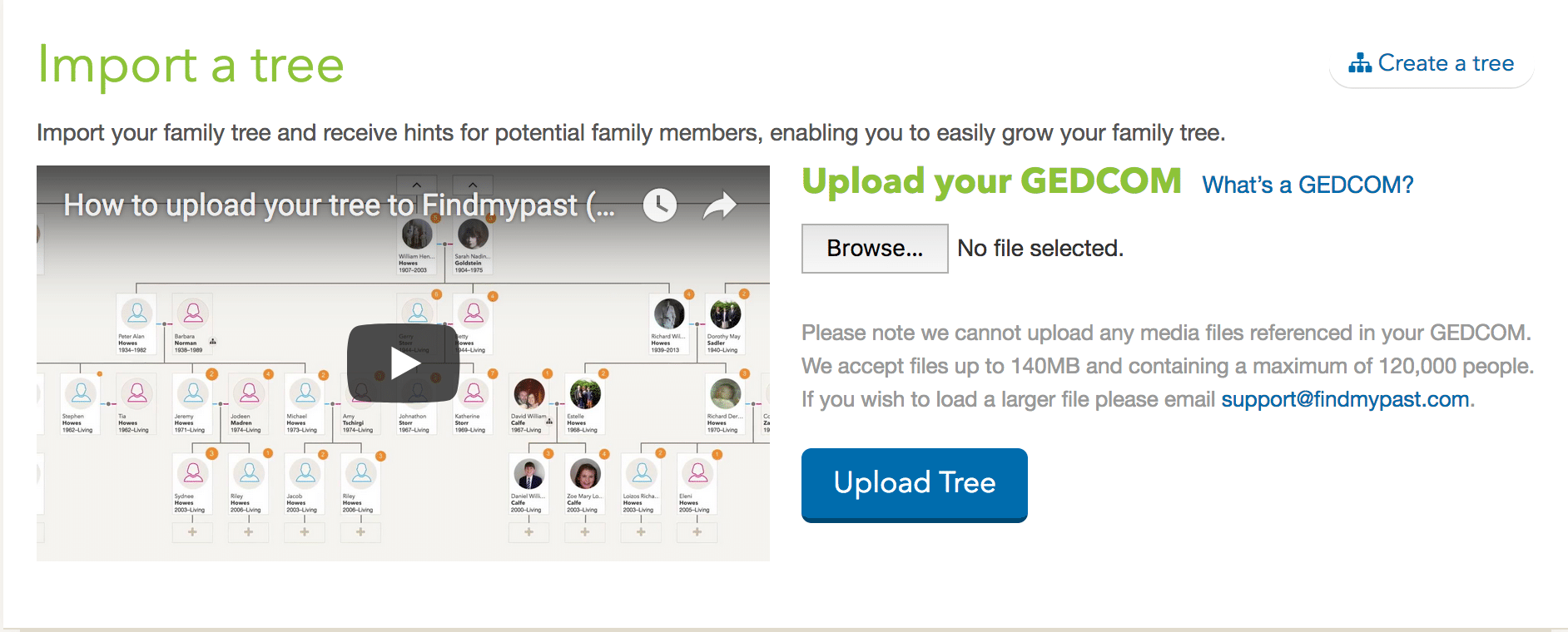 Upload Your Tree to FindMyPast