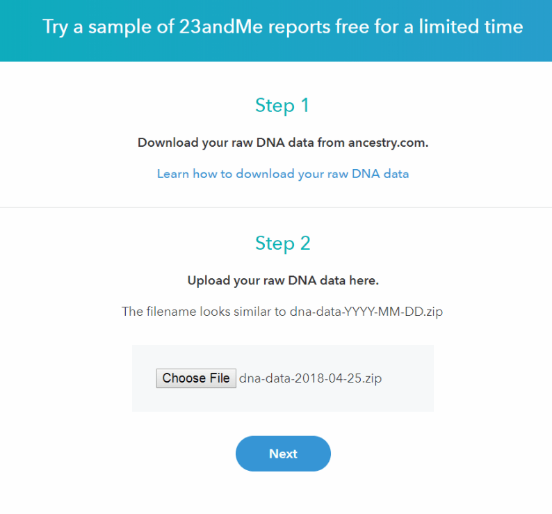23andMe Upload Your DNA