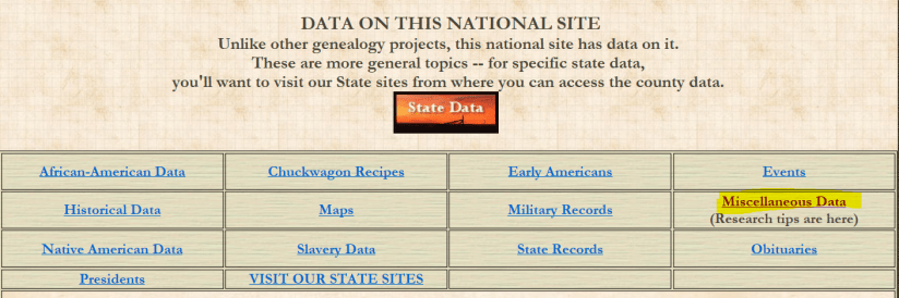 Hospital records for genealogy research, Genealogy Trails menu