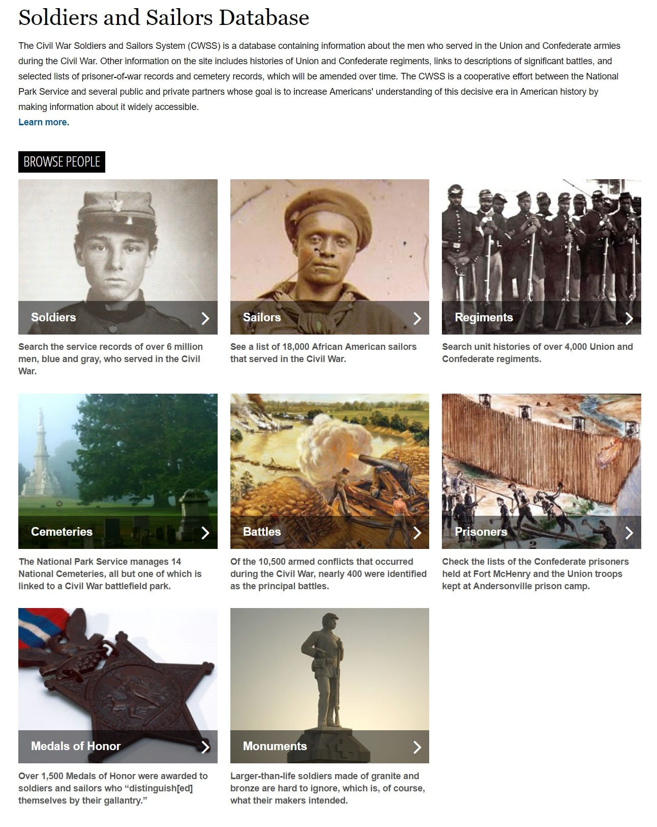 Soldiers and Sailors Databases NPS