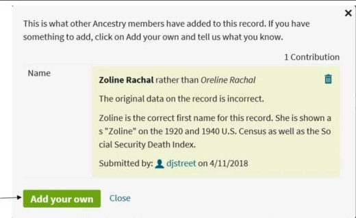 Correcting Ancestry.com Records, add your own info to correct