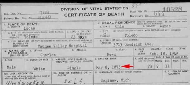 Reexamine genealogy documents, death certificate