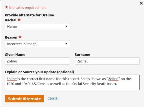 Correcting Ancestry.com Records, explain or source info