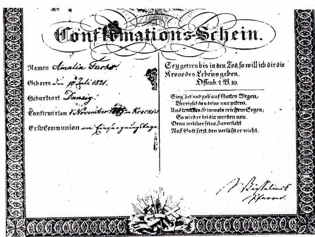 Confirmation Record Amalia Fuchs