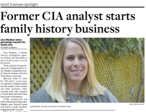 Our business was featured in the Alexandria Times, highlighting the personalized aspect of our services, above and beyond what other online genealogy companies offer.