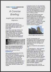 Concise Briefing on English/Welsh Parish Registers