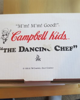 Rare 1995 Danbury Mint Dancing Chef Campbells Soup kid new in box never used