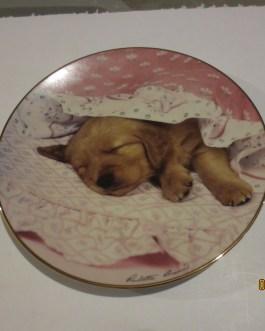 Hamilton Collection Paulette Braun Golden Puppy Do not disturb collector plates w coa