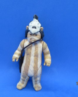 Vintage Kenner Original 1983 Star Wars Figure Ewok Logray w/ Hood Helmet & Bag