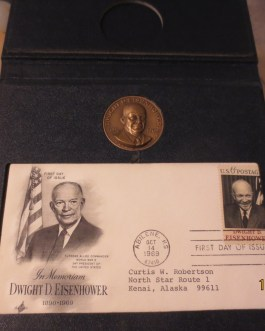 1969 Danbury Mint Dwight D. Eisenhower Commemorative Set / 1st Day Stamp Medal