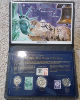 American Icons Coin & Stamp Collection Silver Franklin Half Statue Liberty Mt Rushmore