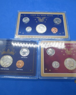 1965 1966 1967 No Mintmark Year sets Silver halves in each set