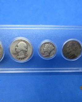 1944 Silver year set Walking Half Washington Quarter Mercury dime & more d