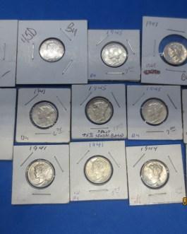 13 coin high grade unc & BU Silver Mercury dime lot 1944s 1944 1941 1945d 1943 +