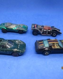 4 vintage HOT WHEELS diecast cars 1975 spiderman 1977 hot bird1968 lola & Torero