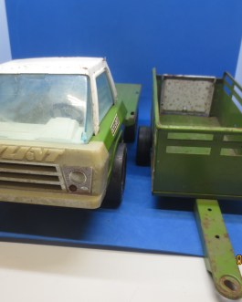 Vintage Nylint 400 Stake Farm Truck And Trailer Green Pressed Steel
