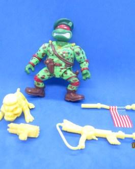 Vintage TMNT Ninja Turtles 1991 Military Green Beret Raph Mear Complete